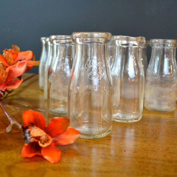LOT of 10, Antique Milk Bottle, Half Pint Milk Bottle, Vintage Wedding, Bottle Collectibles, French Farmhouse, Glass Milk Bottles