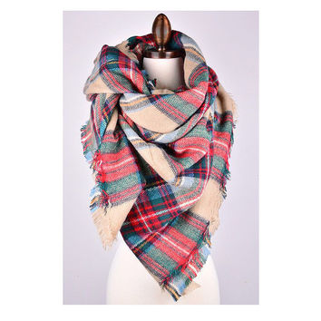 Blanket Scarf, Plaid blanket scarf, oversized plaid scarf, tartan Scarf, Zara style plaid scarf, large red plaid scarf, blanket scarves,SOFT