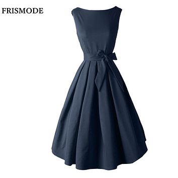 Red Black Audrey Hepburn Style 1950s rockabilly Dress 2017 New Summer Dress Sleeveless Bow Sash Women Vintage Retro Dresses