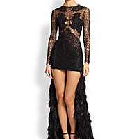 Haute Hippie - Lace & Fringe Illusion Dress - Saks Fifth Avenue Mobile
