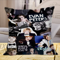 Evan Peters Collage on Square Pillow Cover