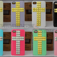 Handmade Belief Christian Cross Metal Studs Nails Case Cover For iPhone 4G 4S