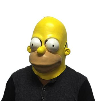 Funny Simpsons Latex Mask Halloween Masquerade Party Masks Adults Full Face Horror Mask Hood Horrible Cosplay Costume Props
