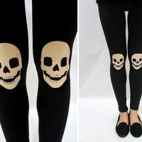 Stylish Skull Pattern Skinny Leggings (Black/Grey) from 1Point99.com