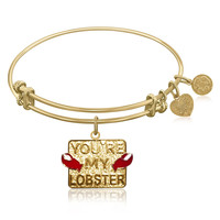 Expandable Bangle in Yellow Tone Brass with You're My Lobster Symbol