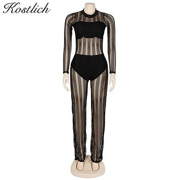 Kostlich 2017 Sexy Women Jumpsuit O-Neck Long Sleeve Mesh Patchwork Jumpsuits Striped See Through Rompers Women Jumpsuit Clothes