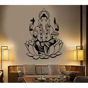 Vinyl Wall Decal India Hinduism Elephant God Ganesha Stickers Unique Gift (1919ig)