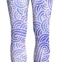 Lavender and white swirls doodles Yoga Pants