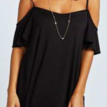 Black Strappy Short Sleeve T-Shirt
