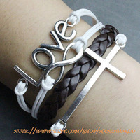 Silvery Love Bracelet Cross Bracelet Infinity Karma Bracelet Wish Bracelet Vintage Brown Leather  -N604