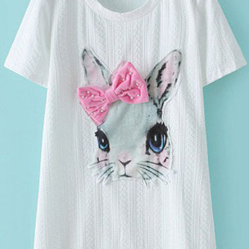 White Bead Bow Rabbit Pattern Short Sleeve Graphic T-shirt