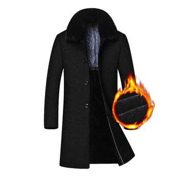 Extra Long Thicken Warm Jacket Men Wool Coat Winter Detachable Fur Collar Overcoat Man