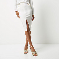 White military wrap pencil skirt - midi skirts - skirts - women