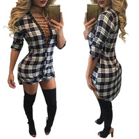 Plaid Lace-Up Side Slit Blouse