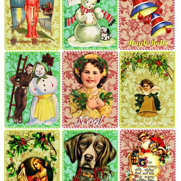 Vintage christmas images art collage sheet digital download graphics children dog santa snowman printable for crafts scrapbooking tags cards