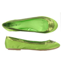 Flat Tinkerbell Fairie Green Satin Sequin Shoes and wide range of Unique Last Pairs at ElectriqueBoutique.com