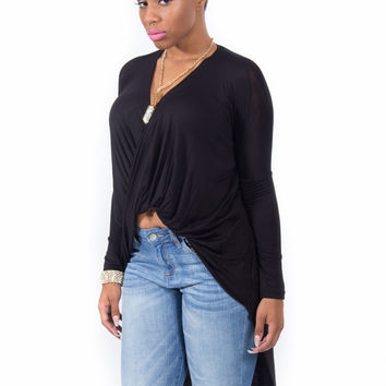 Draped High Low Long Sleeve Top