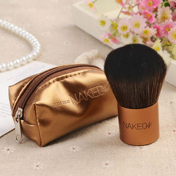 Hot Sale Naked Multi-function Portable Powder Makeup Gold Brush with Bag