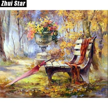 "Zhui Star Full Square Drill 5D DIY Diamond Painting ""Flowers bench"" handmade 3D Embroidery arts Cross Stitch Mosaic Decor VIP"