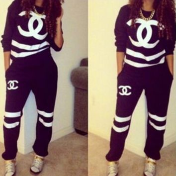 Stylish Letters Long Sleeve Shirt Sweater Pants Sweatpants Set Two-Piece Sportswear