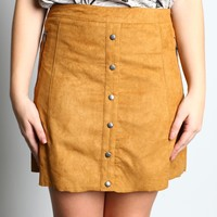 Double Zero Suede Button Up Skirt