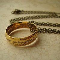 Ring of Power - Unisex Lord of the Rings Inspired Frodo Baggins Ring of Power in Golden Stainless Steel LOTR The Shire