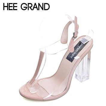 HEE GRAND 2017 Summer Gladiator Sandals Sexy High Heels Fashion Pumps Platform Transparent Shoes Woman Size 35-40 XWZ4158 Macchar Cosplay Catalogue