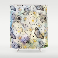Butterfly In the Sky Shower Curtain by Jenndalyn