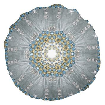 girly Silver blue Sequins Diamond sparkles bling Round Throw Pillow