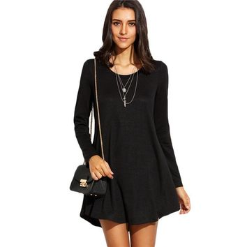 Black Long Sleeve Mini T-shirt Dress Basic Women Solid Round Neck Loose Short Swing Dress