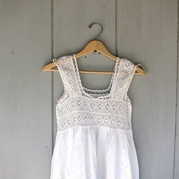 Vintage Crocheted Dress. Lace Yoke Slip Dress. White Cotton Under Garment. Victorian Edwardian. Eye Lit Dress Maxi Boho Sundress. Night Gown