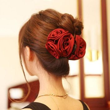 CREYONJ Korean Beauty Ribbon Rose Flower Bow Jaw Clip Barrette Hair Claws for Women Headwear Hair Accessories