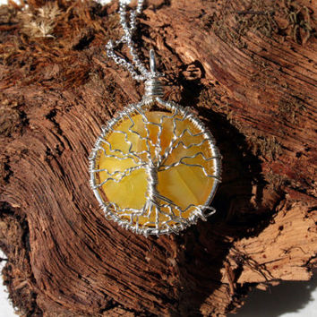 Tree of Life with Yellow Dragon Veins Agate Coin Cabochon Hand Sterling Silver Wire Wrapped Tree Pendant