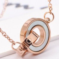 Cartier rose gold black and white shell double ring women wild short clavicle chain Rose Gold + White