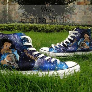 VONR3I Galaxy shoes,Betty Boop Shoes,Studio Hand Painted Shoes 59.99Usd,Paint On Custom Conve