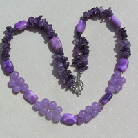 "Amethyst & Jade Gemstone Necklace - ""Violet Grace"""