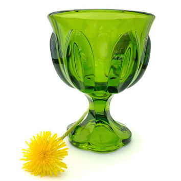 Vintage 60s Green Glass Goblet Small Compote by mysweetiepiepie
