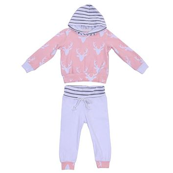 Christmas Unisex Kids Clothes Baby Girls Boys Reindeer Print Hooded Tops + Pants Outfits Newborn Casual  Clothing
