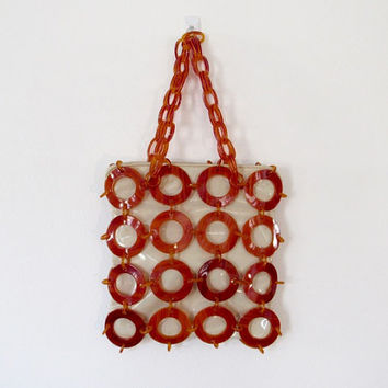 Vintage 1960s Meyers / Mod Patent Leather & Celluloid Handbag / Purse w/ Chain Link Double Handle
