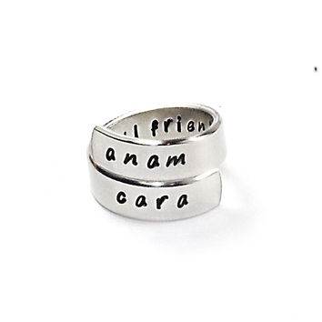 Anam Cara Wrap Ring, Soul Friends Ring, Celtic Theme Friendship Aluminum Ring