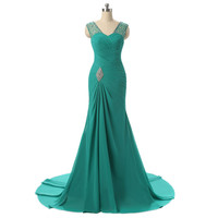 Royal Blue Red Black Mermaid Prom Dresses Luxury Floor Length Party Formal Gowns Long Prom Dress 2016