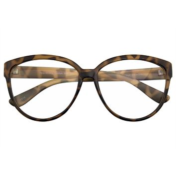 Womens Oversize Retro Nerd Clear Lens Fashion Cat Eye Geek Glasses