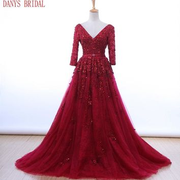 Red Long Sleeve Lace Prom Dresses 2017 Tulle Beaded Graduation Party Evening Dress Gowns vestido formatura longo