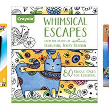 Adult Coloring Set: Crayola Aged Up Whimsical Escapes Adult Coloring Book, 8-Pack BIC Mark-It Fine Point Permanent Markers and 8-Pack BIC Mark-It Ultra Fine Point Permanent Markers