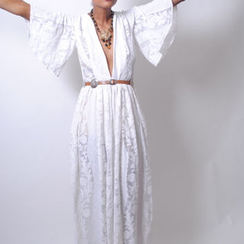 Boho White Lace Maxi Dress | Plunging Deep V | Trendsetter Vintage