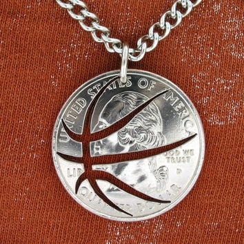Basketball Quarter hand cut coin by NameCoins on Etsy