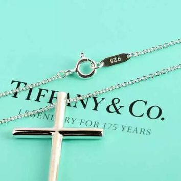 Tiffany & Co. Fashion women Cross Diamond Necklace