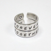 Forever Together Ring Set, Love And Friendship Rings, Personalized Forever Together Ring, Hand Stamped Ring, Friendship Jewelry, Cuff Rings