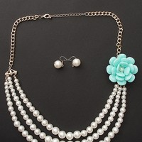 Jewelry & Accessories High Fashion High Tea Flower Accent Pearl Strand Necklace Set - Blue