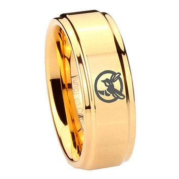 8MM Glossy Gold Step Edges Honey Bee Tungsten Carbide Laser Engraved Ring